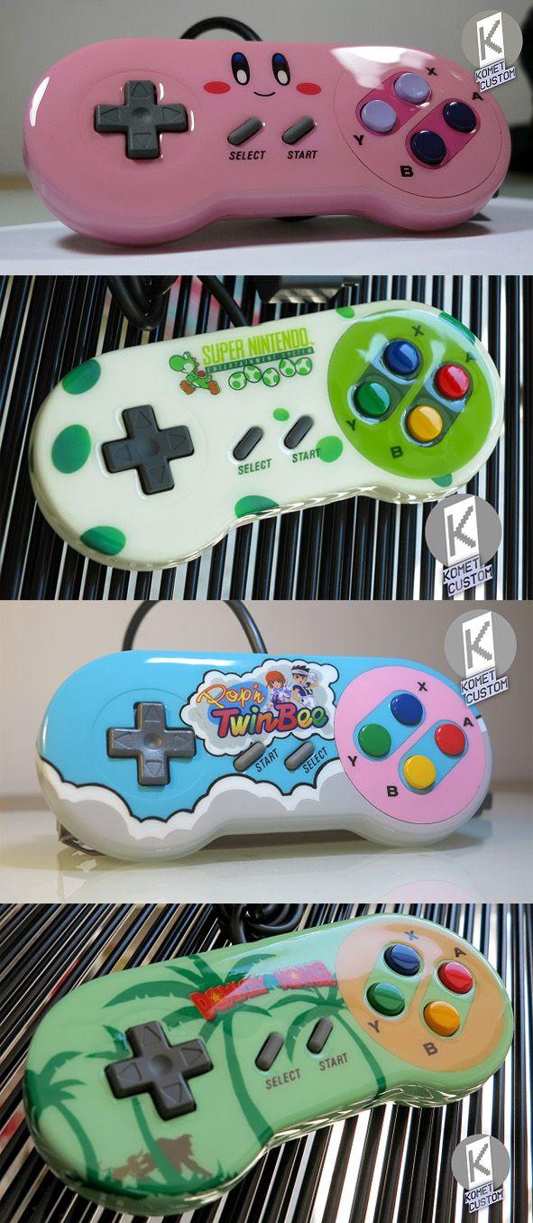 Custom SNES controllers Kirby, Yoshi, TwinBee, Donkey Kong
