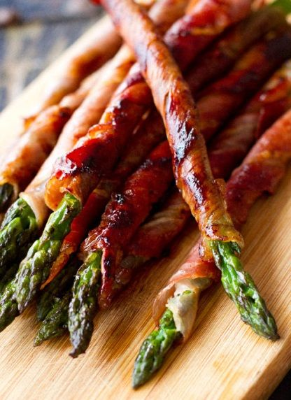 Ingredients:  Approximately 12 asparagus spears 6 slices of prosciutto (or one package if using pre-packaged) Butter or nonstick spray (opt