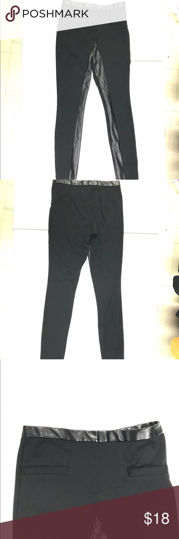 W118 Walter Baker mixed media leggings Polyester blend and polyurethane.  Zip fly, nonfunctional  front pockets.. Inseam is 30 inches waist 13.5. Length is 37 W118 by Walter Baker Pants Leggings