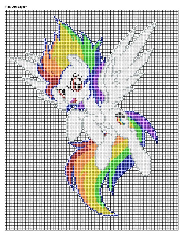 Rainbow Dash Pixel Art Grid