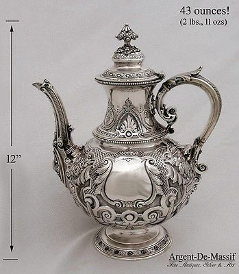 Massive Antique English Victorian Sterling Silver Hand Made Coffee Tea Pot 43oz | eBay