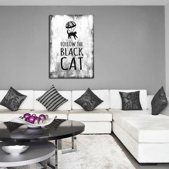 Czarno-biały plakat z zabawną treścią - sprawdzi się w nowoczesnym wnętrzu.