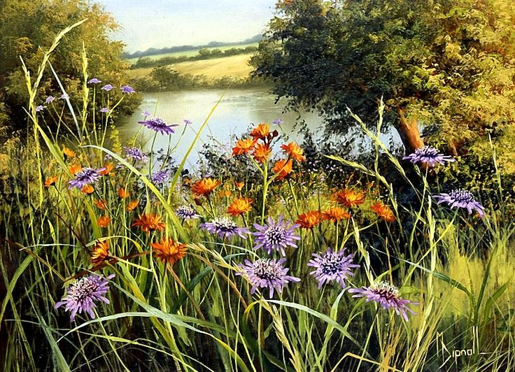 Mary Dipnall   (b.1936) — Meadow Flowers (800×579)