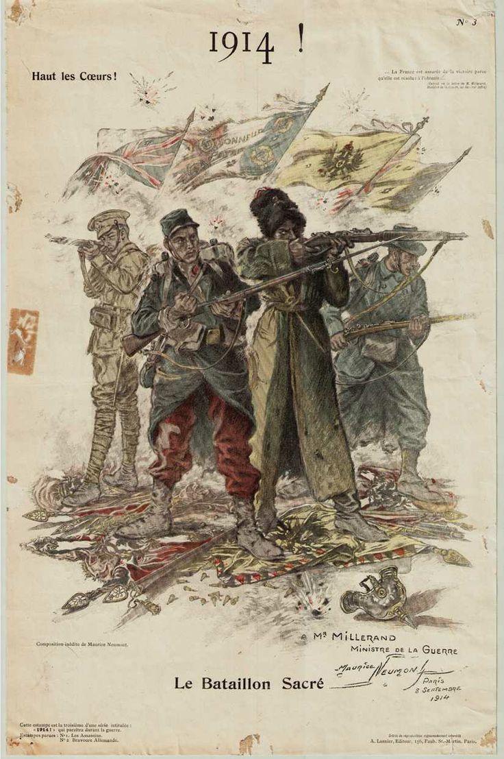 """- Collection Archives de Seine-Maritime -""""1914 ! Haut les coeurs ! Le bataillon sacré"""". Lasnier (A.), imprimeur-éditeur à Paris ; Neumont (Maurice), dessinateur, 1914, 169 Fi Guerre 14-18 285."""