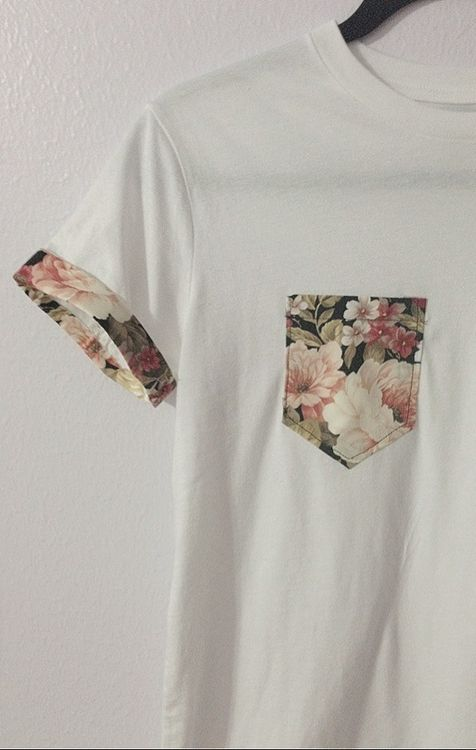 white tee with floral print pocket and cuffs. tomboy, skater, preppy, casual, simple, bold, travel, beach, school, hangout, for spring or summer.