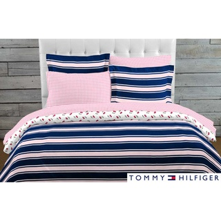 @Overstock.com - Preppy in pink and navy blue, this bedroom comforter set is striped on one side and checked on the other and instantly updates a bedroom. Filled with a soft polyester microfiber, this reversible bedding ensemble is machine washable. http://www.overstock.com/Bedding-Bath/Tommy-Hilfiger-Dorset-Reversible-Comforter-Set/7030222/product.html?CID=214117 $59.99