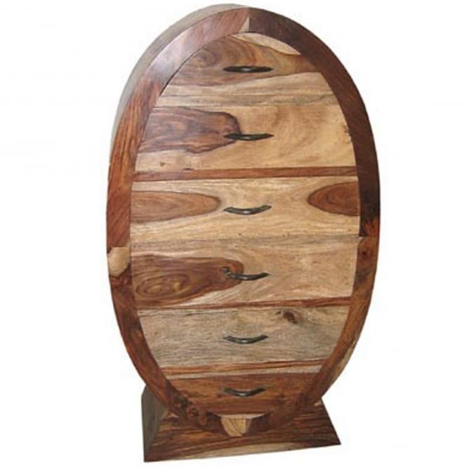 Natural Shesham Oval 6 Drawer Tallboy Acacia Wood Furniture Wood Contemporary Bedroom Furniture
