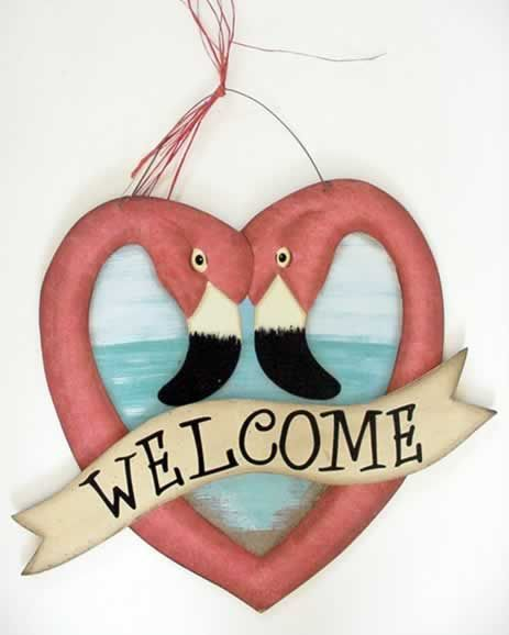 Pink Flamingo Heart Felt Welcome Sign - 33234 | MonsterMarketplace.com