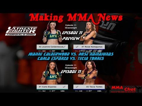 TUF 20 Episode 11 - Esparza vs. Torres and Calderwood vs. Namajunas Preview -  On 'The MMA Live Chat Show' Season 2 Episode 65 show, the guys discuss and preview the TUF 20 Episode 11 show that  features the final two quarterfinal fights between Carla Esparza vs. Tecia Torres and Joanne Calderwood vs. Rose Namajunas.  @RichDavie @MMALiveChatHour #TUF20 #EsparzaVsTorres #CarlaEsparza #TeciaTorres #CalderwoodVsNamajunas #JoanneCalderwood #RoseNamajunas  Recorded : Tuesday December 2, 2014