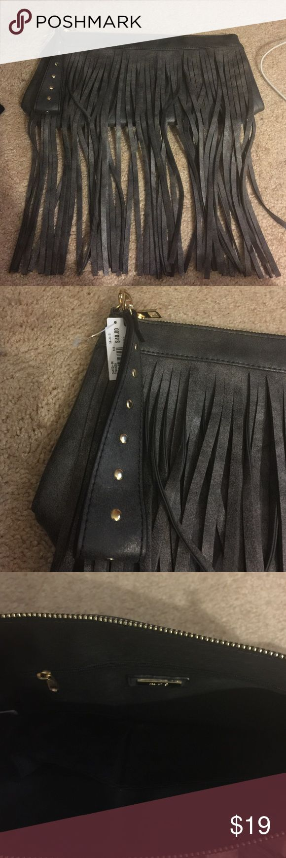 ALDO Charcoal Black Clutch w fringe Super cute Clutch from Aldo. Never used and still has tags on.... could be a Christmas present!  NOTE: Colorbis listed by Aldo as Black but it is more Charcoal-gunmetal w a tinge of black. NOT a true black. Aldo Bags Clutches & Wristlets