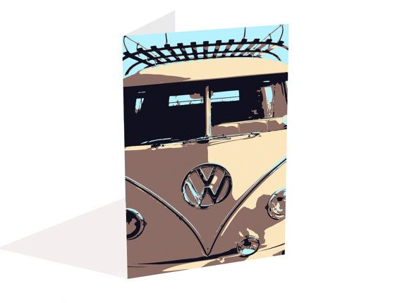 #VWCamper #GreetingCard from #SimplyLoveArtStudio only 2.50GBP from #Etsy includes P&P (blank inside for your own message) Ships from England