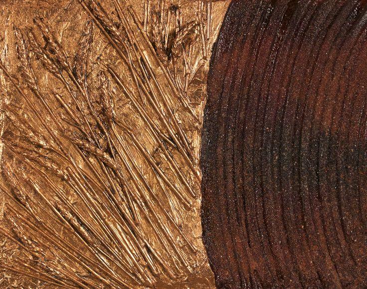 """Crop Circles 2"" 2016 by James M. Clow 20""x16"" Mixed Media including acrylic, genuine copper gilding, Saskatchewan wheat and potash. on cradled birch board."