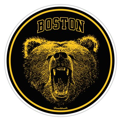 "Get this awesome Boston Bear sticker. Everyone should fear the bear and certainly should not poke him! This design is one of our personal favorites! Boston Bear Puck Sticker is approx 4"" wide by 4"" tall http://www.chowdaheadz.com/boston-bear-puck-sticker.html"