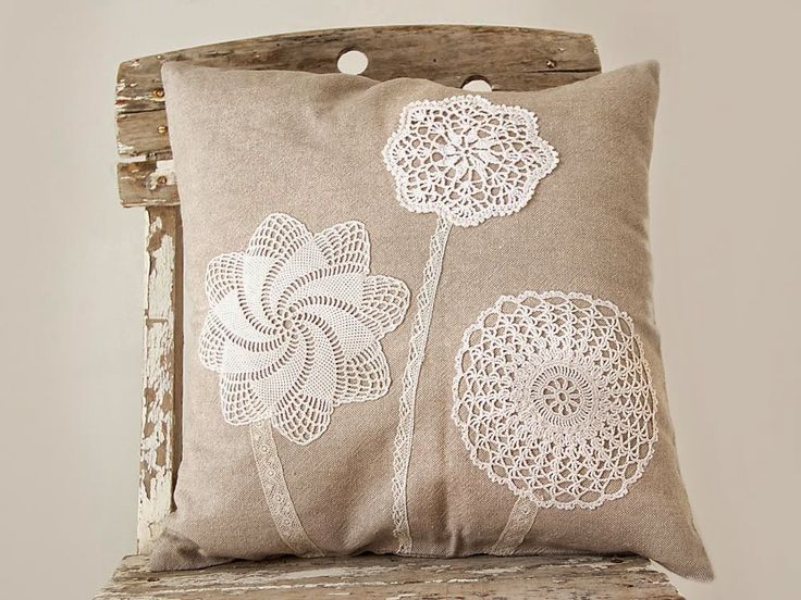 New pillows decorated with vintage doilies