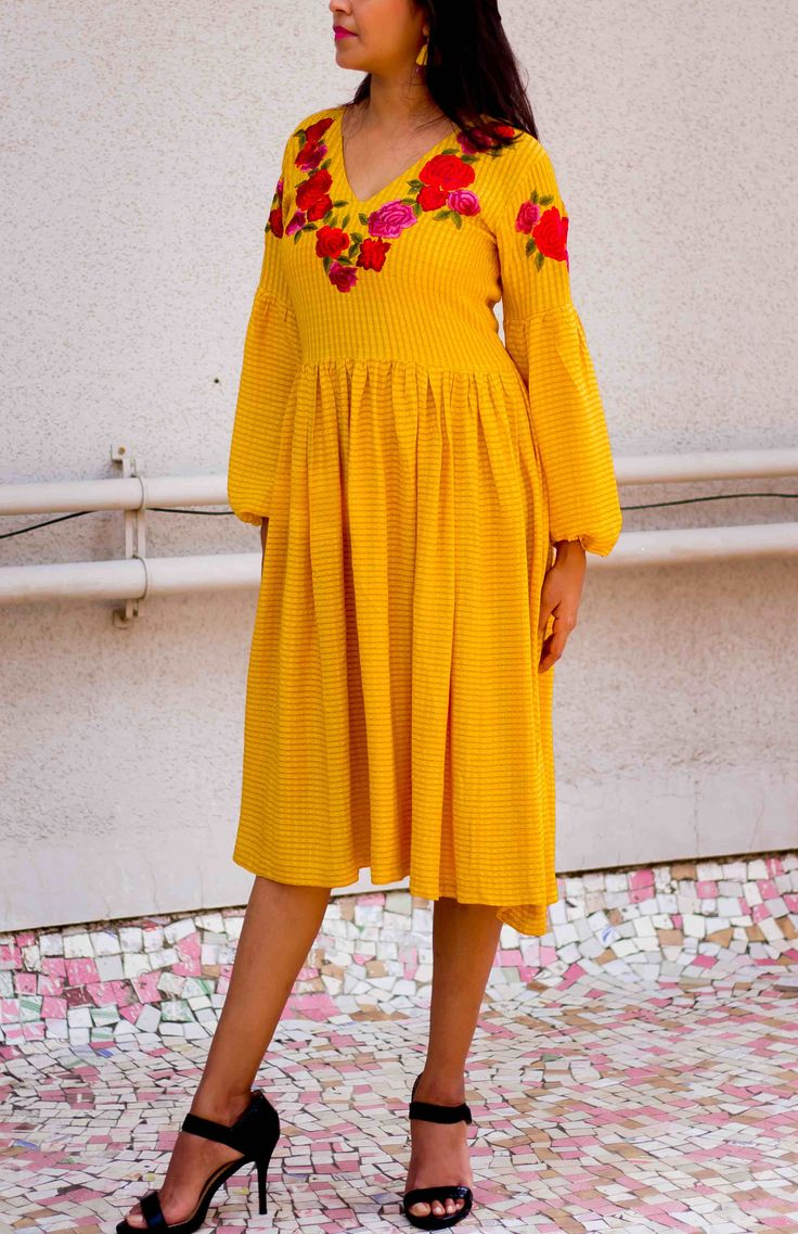 Yellow Ochre Modal Dobby Embroidered Dress