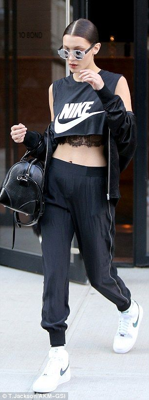 Toned tum: Bella Hadid sported two different crop tops on different outings in New York Ci...