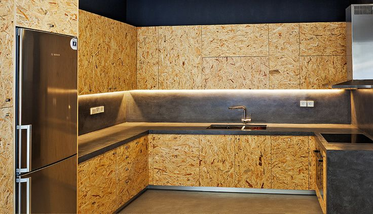 Osb plywood. With stain for walls.