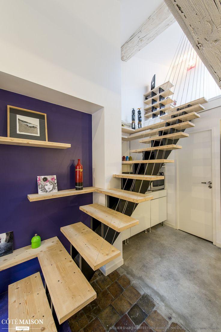 Restructuration d'un appartement avec poutres et tomettes, atelier d'ar(t)chitecture Aurélie Nicolas - Côté Maison