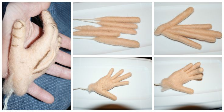 big needle/ wet felted  hands with wire