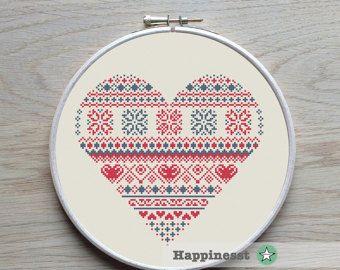 geometric modern cross stitch pattern heart valentine heart