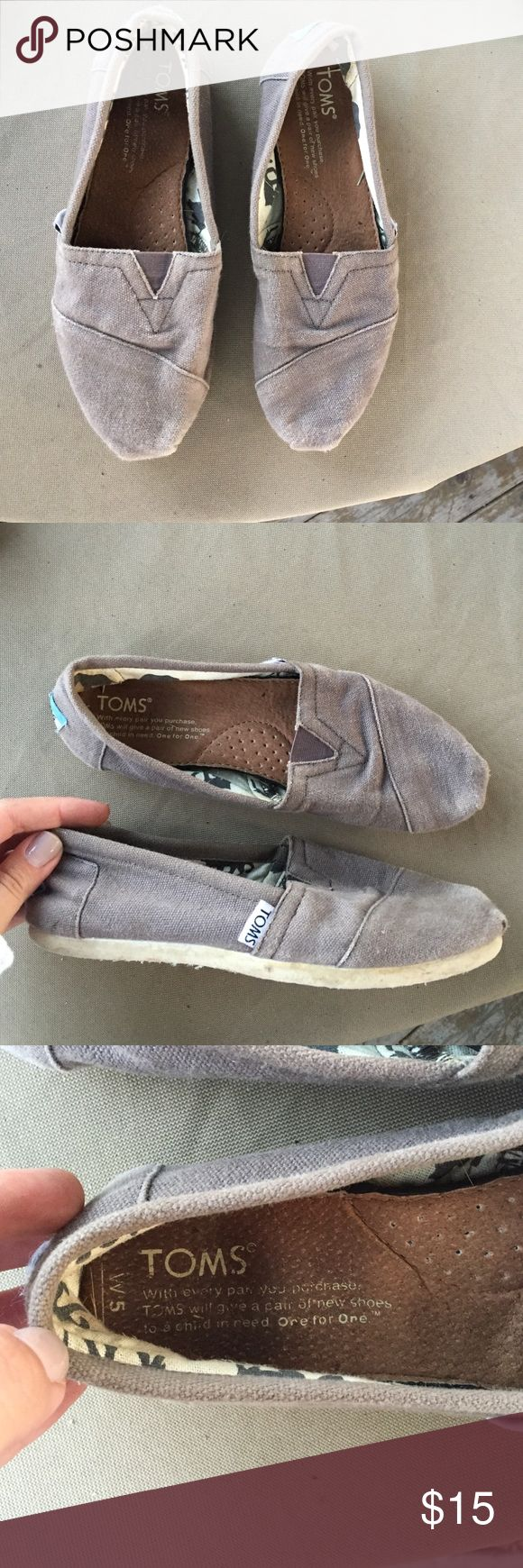 Gray Toms No rips or stains. Good condition. TOMS Shoes Flats & Loafers