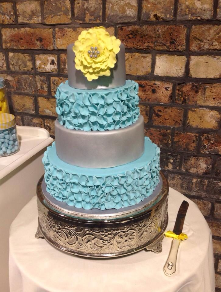 Ruffles galore!! Gorgeous Tiffany blue & yellow wedding cake by Michelle-Marie's Kitchen