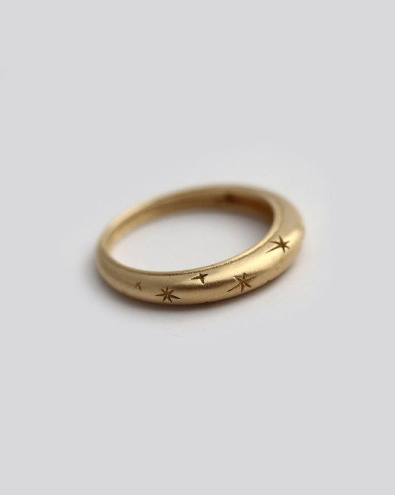 Solid Gold Ring With Star Pattern Ideal As Wedding Band For Her