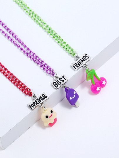 ddc1329741 Girls Animal Pendant Necklace Set 3pcs -SheIn(Sheinside ...