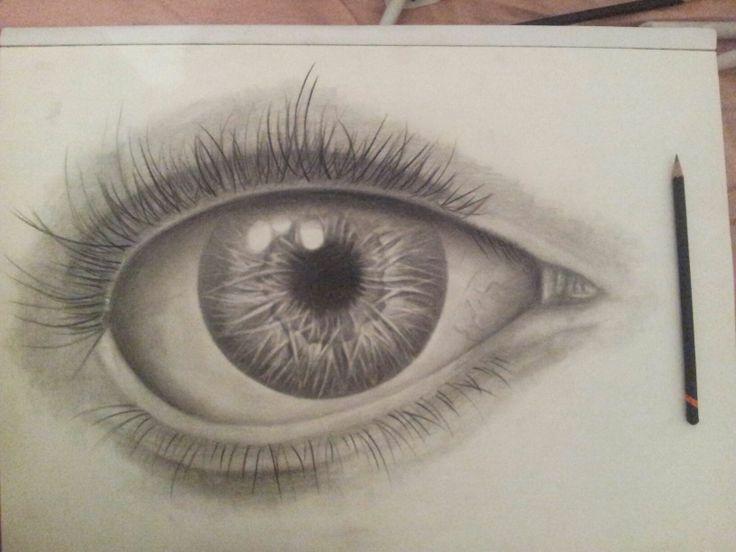 a drawing of a eye in grey lead