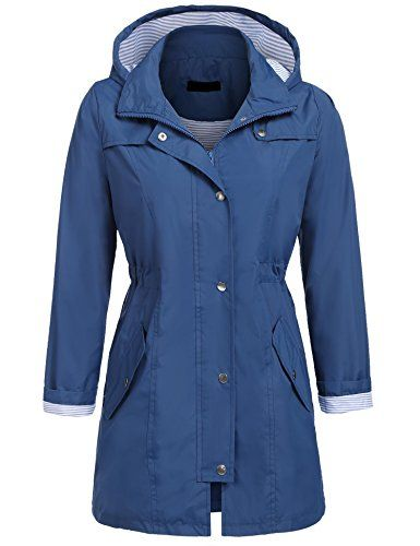 0bdabd972c02b Zeagoo Womens Lightweight Travel Trench Waterproof Raincoat Hoodie  Windproof Hiking Coat Packable Rain Jacket Navy L     Click image for more  details.