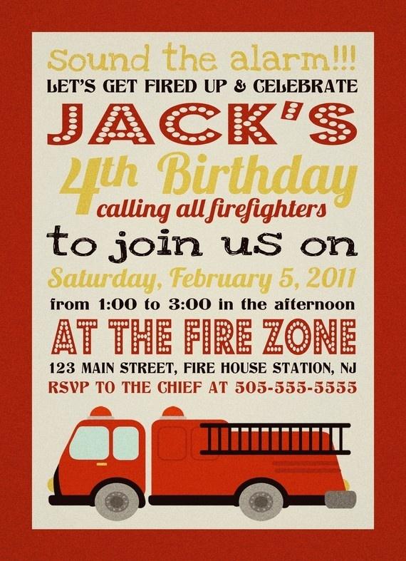 fire truck invite birthday party :)