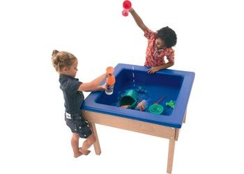 Sand and Water Table. A square sand and water table mounted on a solid wooden frame.
