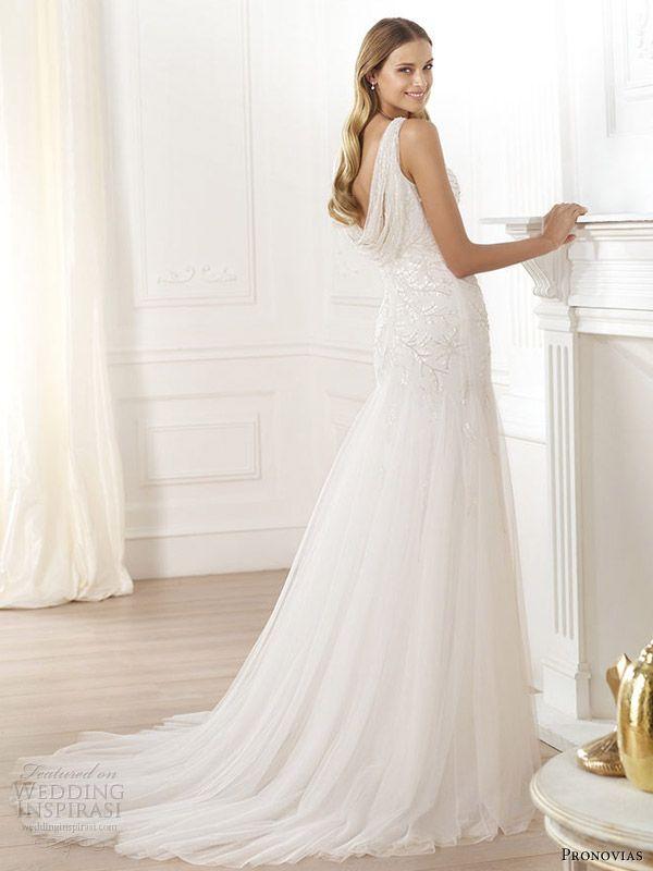Simple pronovias fashion laberne cowl back wedding dress