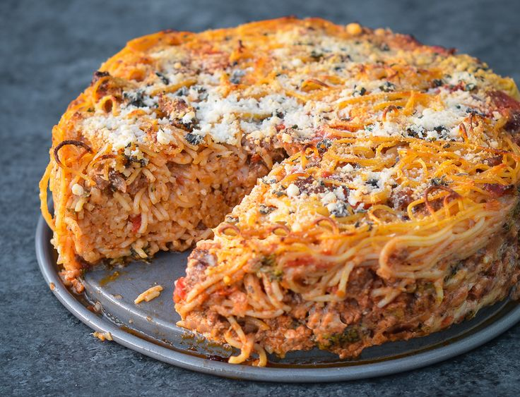 Gail Simmons' Epic Spaghetti Pie - Once Upon a Chef  Could easily be made vegan with Gardein meat crumbles and nutritional yeast for the cheese.