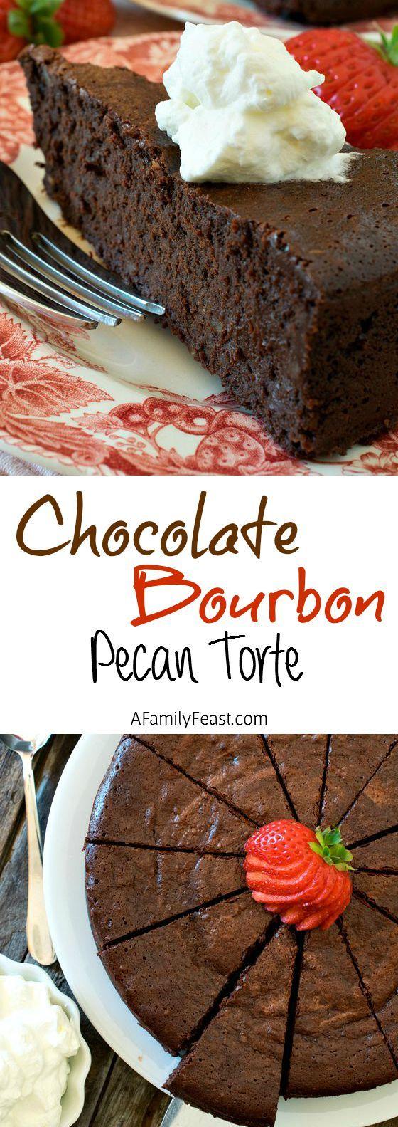 Chocolate-Bourbon Pecan Torte - A decadent, rich flourless chocolate ...