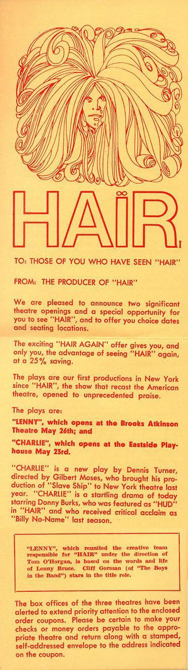 Hair Broadway 1971 promos