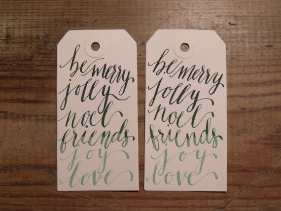 Hand Written Calligraphy Ombre Christmas Tag by AnchorPort on Etsy