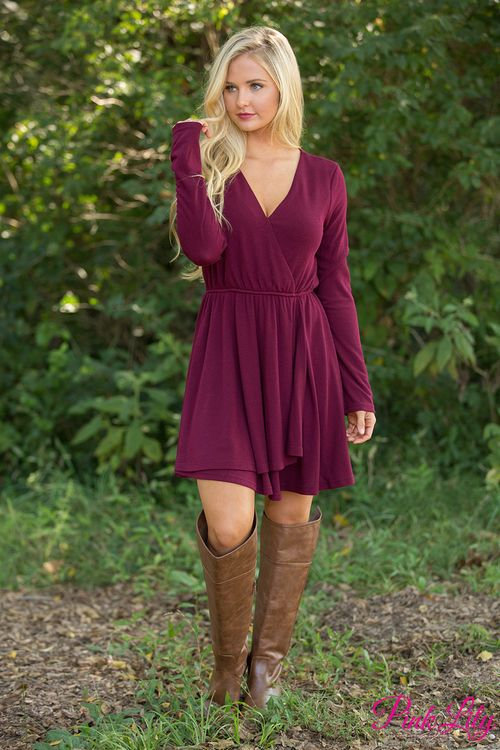 This beautiful wrap dress is sure to steal your heart away! We are in love with the beautiful wine color paired with the classic wrap style - it's just an essential for date night!