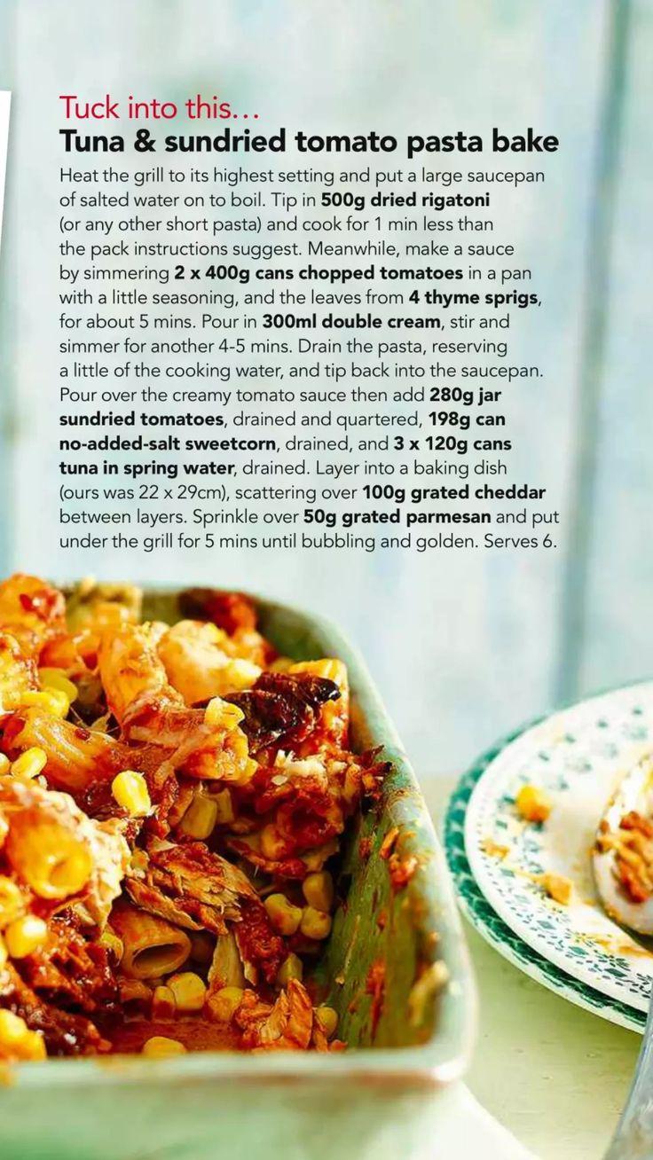 Tuna and sundried tomato pasta bake