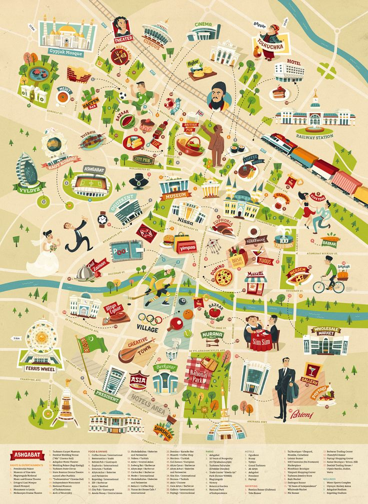 Illustrated map of Ashgabat, Turkmenistan. http://www.theydrawandtravel.com/artists/alexandra-erkaeva