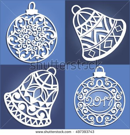 Set of openwork Christmas decorations. Laser cut paper christmas bell . Christmas decorations for wood carving, paper cutting.