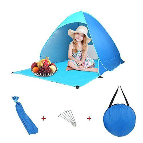 Abris de Plage Pop Up, PULNDA Pop up Tente Anti UV Montage Automatique UPF 50+ Abris de camping Tentes instantanées et abri soleil Pour 1-…