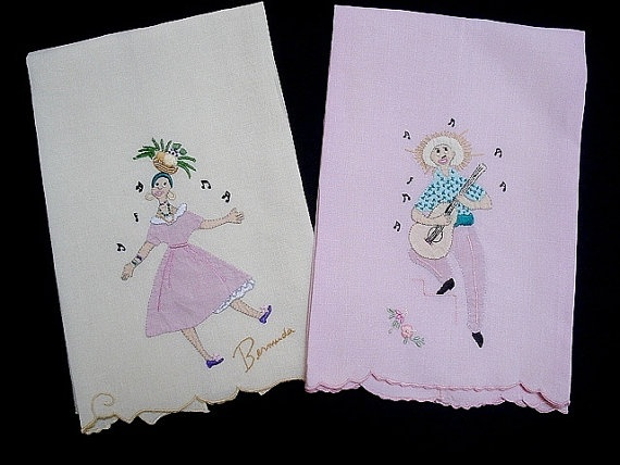 Vintage Irish Linen Hand Towels Madeira by vintagelinens on Etsy, $28.00
