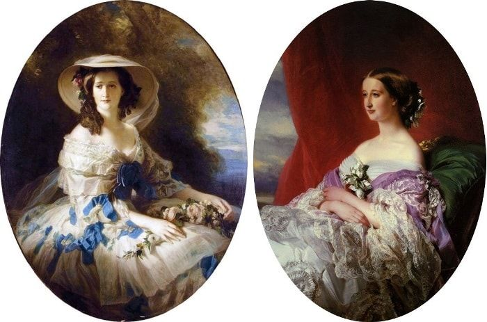 Ф.К. Винтерхальтер. Портреты супруги Наполеона III императрицы Евгении, 1857 и 1854 | Фото: liveinternet.ru