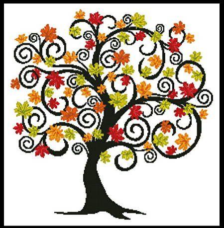 Decorative Autumn Tree - Thanksgiving cross stitch pattern designed by Tereena Clarke. Category: Trees.