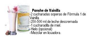 Recetas Saludables de Herbalife    Batido Herbalife Fórmula 1  de Ponche de Frutas           2 cucharadas de Fórmula 1 Vainilla  100 ml ...