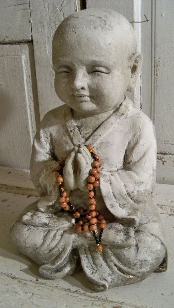 Large Buddha child statue adorned with prayer beads religious home decor hand painted  Anita Spero