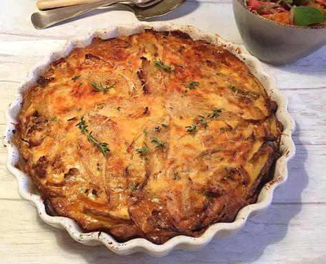 Tærte med kartoffelbund, kylling, fennikel og parmesan – Stop spild af mad
