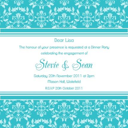 Classic Turquiose Engagement Invitation