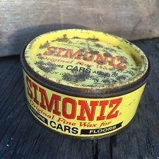 Vintage Simoniz Car Wax Polish Tin Automobilia Petroliana Oil Can Collectable